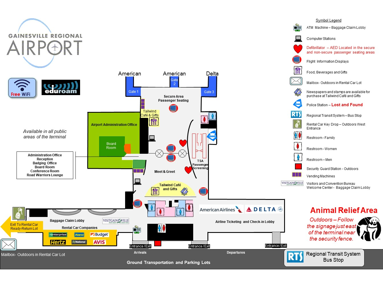 Terminal Map - Gainesville Regional Airport on